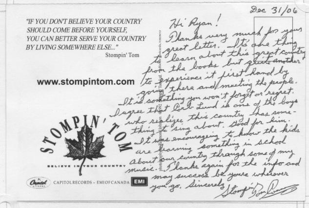Stompin Tom Letter Back